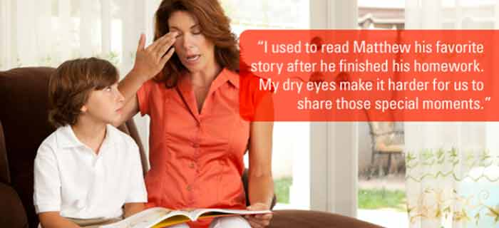 Spinak Medical Eye Center in Rockland County, NY ad: Dry eye makes it hard for me to read to my son