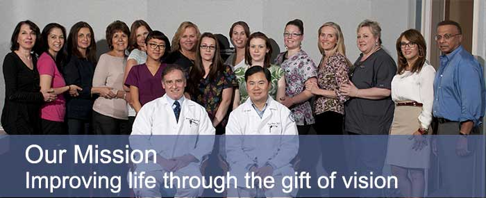 Spinak Medical Eye Center Staff picture with Our Mission: Improving life through the gift of vision